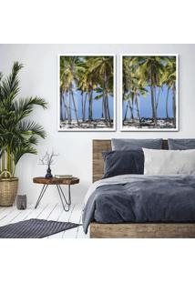 Quadro 65X90Cm Coqueiros Maragori Praia Alagoas Brasil Moldura Branca Com Vidro - Multicolorido - Dafiti