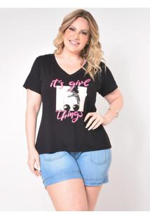 T-Shirt Plus Size Girl: Preto: 48