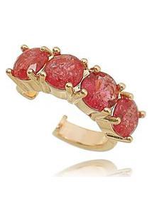 Brinco Soloyou Piercing Falso Regulável De Encaixe Fusion Rubi Semijoia Em Ouro Rosé