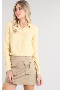 Camisa Feminina Listrada Com Lurex Manga Longa Amarela