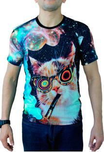 Camiseta Ops Crazy Cat Space Estampada