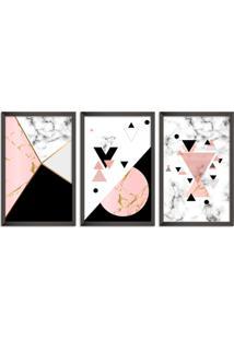 Quadro Oppen House 60X120Cm Abstrato Escandinavo Coloridos Geométrico Triangulos Moldura Preta Sem Vidro Mod: Oh5716