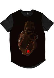 Camiseta Longline Bsc Coração De Máquina Couro Sublimada Masculina - Masculino-Preto