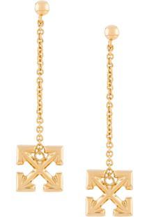 Off-White Par De Brincos Com Logo E Corrente - Dourado