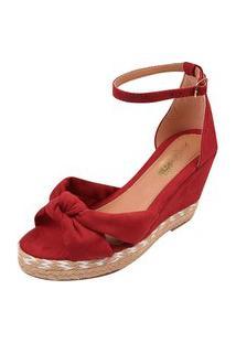 Sandália Uzze Sapatos Anabela Confort Laço Vermelha