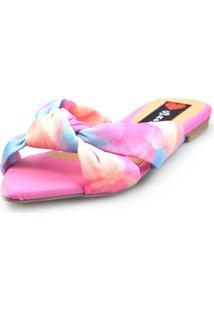 Sandália Rasteira Love Shoes Mule Bico Folha Nó Tie-Dye Coral - Kanui