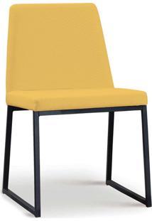 Cadeira Yanka Aço Preto Linho Amarelo Daf
