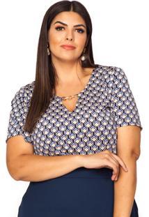 Blusa Almaria Plus Size Pianeta Estampada Azul/ Bege