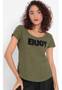 """Blusa """"Enjoy"""" Com Pelúcia- Verde Militar & Preta- Mamalwee"""