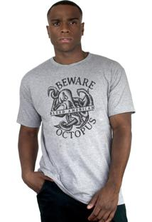 Camiseta Bleed American Octopus Cinza Mescla