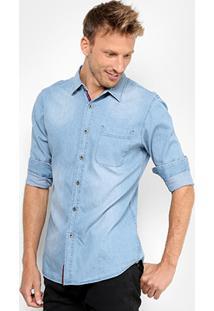 Camisa Jeans Broken Rules Estonada Bolso Masculina - Masculino
