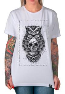 Camiseta Artseries Coruja Caveira Dead Owl Branco