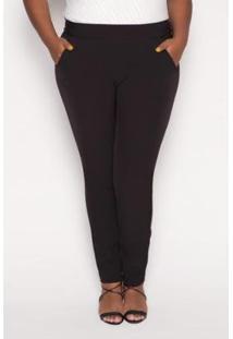 Calça Almaria Plus Size Alt Brand Alfaiataria Feminina - Feminino-Preto