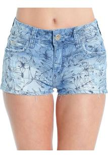 Shorts Jeans Estampado Destroyed Detalhes Dourados Colcci