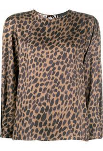 8Pm Leopard-Print Blouse - Marrom