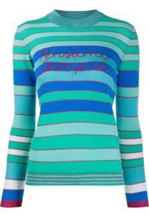 Giada Benincasa Pensami Sempre Embroidered Striped Jumper - Azul