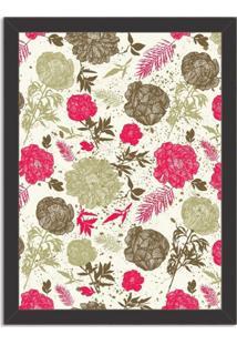 Quadro Decorativo Floral Rosa Preto - Médio