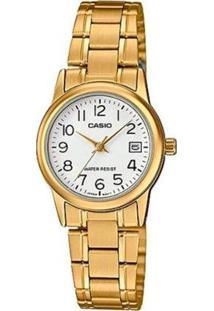 Relógio Casio Ltp Feminino - Feminino-Dourado