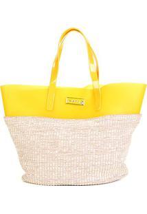 Bolsa Petite Jolie Shopper Judy Bag Palha Feminina - Feminino-Bege