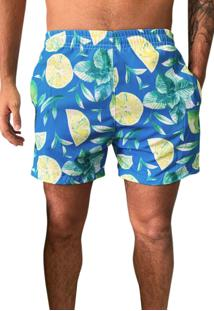 Shorts Masculino Praia Estampado Microfibra Com Elastano J10 Ref.1025