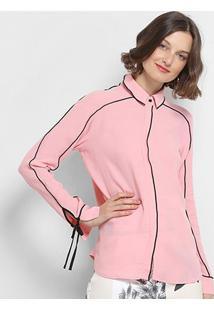 Camisa Colcci Contornos Amarração Punho Feminina - Feminino-Rosa