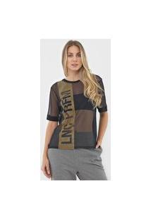 Camiseta Lança Perfume Tule Aplicações Preta