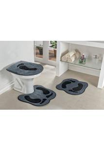 Jogo De Banheiro Guga Tapetes Formato Pegada 03 Peças Cinza