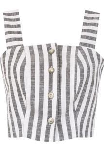 Osklen Blusa Cropped Listrada - Cinza