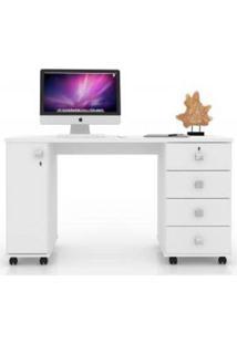 Mesa De Computador Smart 4 Gavetas 1 Porta Branco Brilho - Lukaliam Móveis