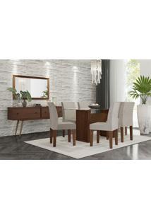 Conjunto Mesa De Jantar Zafira Com 6 Cadeiras Marrom Rv Móveis - Tricae