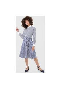 Vestido Chemise Polo Ralph Lauren Curto Listrado Branca/Azul