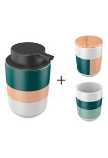 Dispenser Para Sabonete Liquido + Porta Algodao Em Ceramica/Bambu + Porta Escova Osaka Em Ceramica Listrado - Yoi