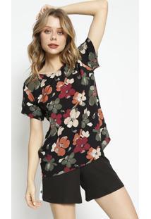 Blusa Floral- Preta & Vinhoangel