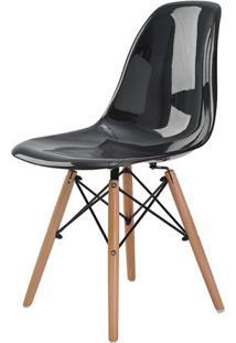 Cadeira Eames Eiffel Policarbonato Preto Solido Base Madeira - 44181 - Sun House