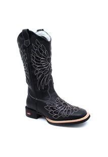 Botina Texana Feminina Tróia Boots Café Bico Quadrado