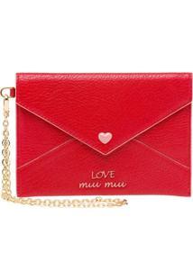 Miu Miu Porta-Moedas Envelope Love Logo - Vermelho