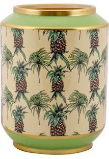 Vaso Decorativo De Porcelana Jupí - Linha Pineapple