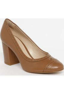 Sapato Tradicional Em Couro Com Microfuros - Nude- Scapodarte