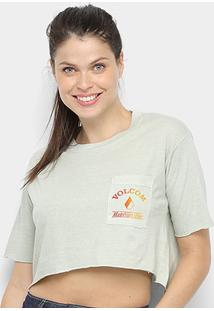Camiseta Cropped Volcom Made From Smoke Feminina - Feminino