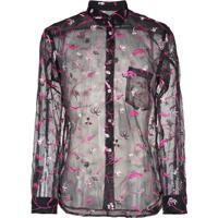 12f7e2dfb7 Home Roupas Masculinas Camisas Bordada Preta. Comme Des Garçons Homme Plus  Camisa Translúcida Com Bordado Floral - Preto