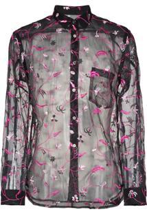 Comme Des Garçons Homme Plus Camisa Translúcida Com Bordado Floral - Preto