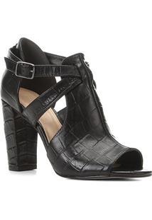 Sandália Couro Shoestock Sandal Boot Croco Feminina - Feminino-Preto