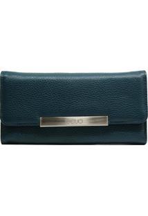 Carteira Em Couro Recuo Fashion Bag Verde Oceano Azul