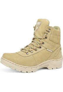 Bota Coturno Militar Fran Boots Em Couro Sapatofran Cano Médio Areia