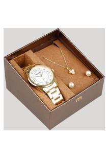 Kit De Relógio Analógico Mondaine Feminino + Brinco + Colar - 83385Lpmvde1Kb Dourado