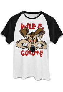 Camiseta Bandup! Raglan Wile E. Coyote - Masculino-Branco+Preto