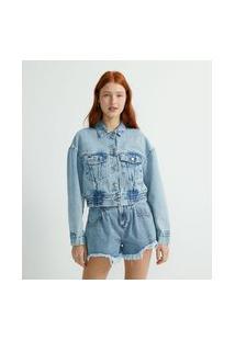 Jaqueta Cropped Jeans Com Elástico Na Barra | Blue Steel | Azul | Gg