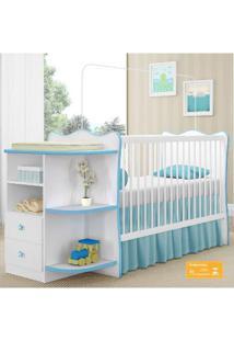 Quarto De Bebê Completo Doce Sonho Qmovi 2 Peças Berço Com Cantoneira E Roupeiro Branco Azul