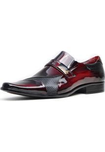 Sapato Social Promais 0741A Co Verniz Vermelho/Preto