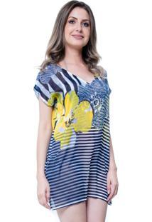 Blusa Estampada 101 Resort Wear Tunica Saida De Praia Decote V Fendas Floral Listrado Azul